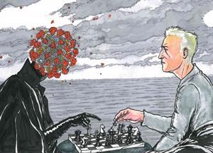 Un essere umano che gioca a scacchi con il coronavirus